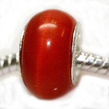 Cat's Eye Glass European Beads For Snake Chain Bracelet (Light Red)