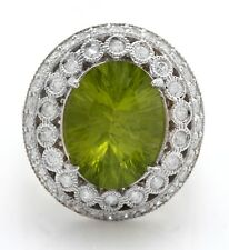 8.90 Carat Natural Green Peridot and Diamonds in 14K Solid White Gold Ring