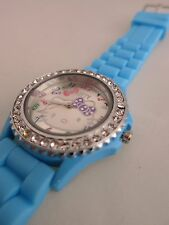 BRAND NEW COVERED WITH CRYSTALS HELLO KITTY BABY BLUE SILICONE WATCH