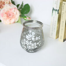 Grey Glass Blossom Tealight Holder vintage floral shabby chic wedding home decor