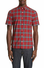 9e7d2c54f86f02 Burberry Men's Alexander Check Print Short Sleeve Cotton Sport Shirt in Red  L
