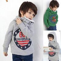 Kids Boy Fleece Hoodie Coat Hooded Sweatshirt Pullover Jumper Sweater Casual Top