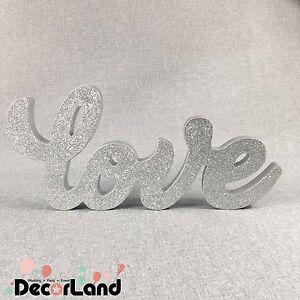 "Glitter Silver Freestanding ""Love"" Table Sign Wedding Engagement Decor Home"