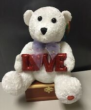 "Chantilly Lane Animated/Musical 13"" Bear W/ Flashing Sign ""L. O. V. E. "" NWT-W"