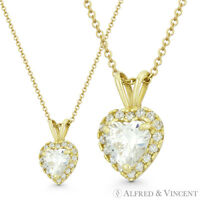 Heart Love Charm Clear CZ Crystal Pave 14k Yellow Gold 12x8mm Valentine Pendant