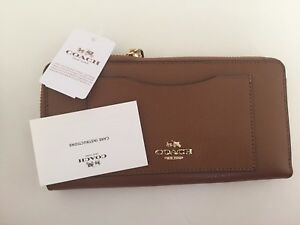 New Coach F54007 Accordion Zip Wallet In Crossgrain Leather Saddle Brown NWT