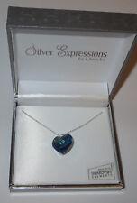 "Dark Blue Heart Swarovski Necklace Crystal 18mm Silver Plated New Gift Box 17"""