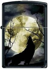 Wolf Moon Howling Canis Lycaon Black Matte Zippo Lighter