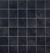 20 x BLACK SM SQUARE SELF ADHESIVE STICK ON VINYL FLOORING FLOOR TILES KITCHEN
