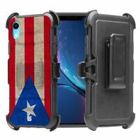 PUERTO RICO Flag Hybrid Armor Belt Clip Rugged Case for iPhone 11 XS MAX XR 8 7