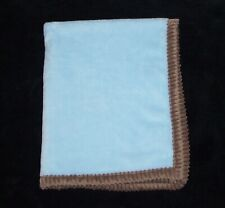 New listing Chick Pea Blue Soft Plush Baby Blanket Brown Ribbed Trim Security Lovey