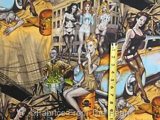 Zombie Apocalpse Pin Up Girls Hot Rod Cars on Rust BY YARDS AH Cotton Fabric