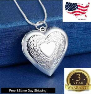 """925 Sterling Silver Heart Necklace, Locket Photo Picture 18"""""""
