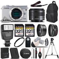 Canon EOS M100 Mirrorless Camera (White) - 3 Lens Kit + 64GB + PRO FLASH