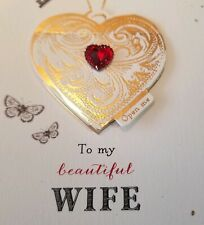 PAPYRUS Valentine's Day Card Wife Pop Out Glitter Jewel Gold Red Heart New Greet