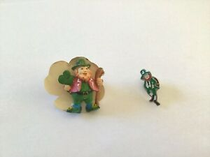 Lot Of 2 Vintage St. Patrick's Day Leprechaun Pins