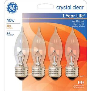 GE CA Type Decorative Crystal Relaxing Bulbs 40 Watt Medium Base. 4 Bulbs