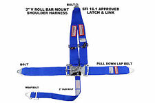 """BLUE SAFETY HARNESS 5 POINT RACING HARNESS SFI 16.1 LATCH & LINK 3"""" SEAT BELT"""