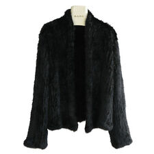 NEW& Women Woven fur 100% Genuine Real Rabbit Fur Knit Coat Jacket High Quality