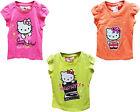 NEUF filles Hello Kitty t shirt couleur fluo haut t-shirt été Âge 2-8 ans