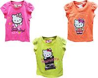 NUEVO NIÑA HELLO KITTY Camiseta Colores De Neón Top verano Edad 2-8 AÑOS