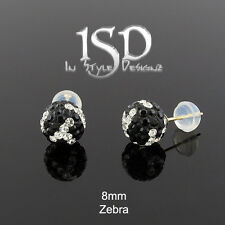 14k Gold Women's 8mm Austrian Crystal Ball Zebra Crystal Studs Earrings