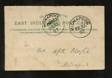 INDIA 1897 EAST INDIA POSTCARD POSTAL NOTICE OFFICIAL MAIL...MIDNAPORE