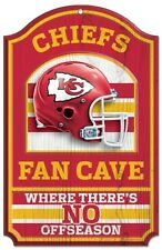"""KANSAS CITY CHIEFS FAN CAVE THERE'S NO OFFSEASON WOOD SIGN 11""""X17'' NEW WINCRAFT"""
