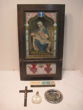 VINTAGE RELIGIOUS ALTAR PRAYER BOX CHALKWARE JESUS MARY OAK WOOD CRUSIFIX BOTTLE