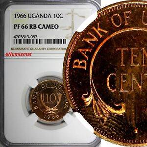 Uganda Bronze PROOF 1966 10 Cents NGC PF 66 RB CAMEO TOP GRADED BY NGC KM# 2