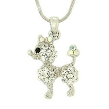 POODLE W Swarovski Crystal DOG Puppy Pet Clear New Pendant Necklace Gift Charm