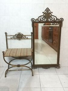 Vintage Italian Brass Savonarola chair and mirror