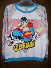 NEW WOMEN'S JUNIORS SUPERMAN PULLOVER SWEATSHIRT SIZE XXL (19) SUPERHERO SLEEVES