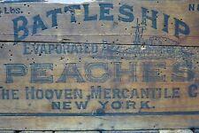 Antique BATTLESHIP PEACHES Wooden Crate Box fabulous design Hooven Merch Co NY