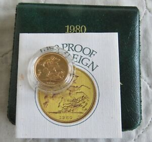 1980 QEII GOLD PROOF SOVEREIGN - boxed/coa