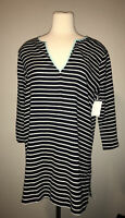 J. Crew Navy Blue and White Striped Tunic Shirt, Size Large