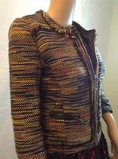 New Greylin Sz XS Woven Tweed Orange Yellow mix colors Cadigan Jacket retail$136