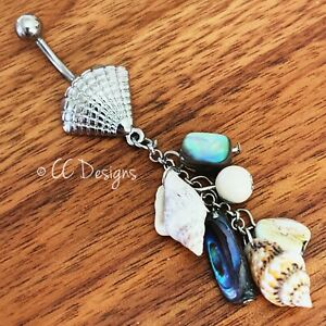 14g silver Clam seashell dangle chain sparkle beads shells belly ring (#288)
