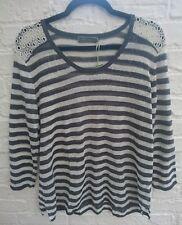BNWT Mint Velvet Grey & Ivory Stripe Top Plus Size 18 - New Linen & Lace Insert