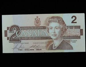 1986 $2 Two Dollar Bank of Canada Banknote Bill CBI 2021031 Bonin Thiessen EF-AU