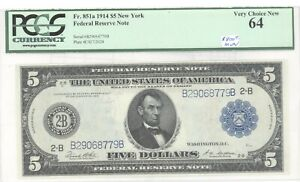 1914 $5 FEDERAL RESERVE HOTE PCGS MS 64 FR 851A