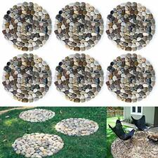 Set of 6 River Rock Stepping Stones Pavers Outdoor for Garden (Roundness) New