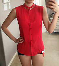 NWT Moschino Red Gold Chain Sleeveless Silk Blouse Top Button Up Down Shirt 8 M