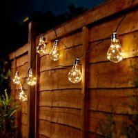 Solar Power Outdoor LED Festoon Fairy Lights | Wire Firefly Bulb Garden Decor