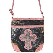 PINK CROSS MOSSY LOOK MESSENGER BAG MONTANA WEST SATCHEL CROSS BODY WESTERN NEW