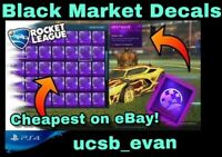 (PS4/PSN) Rocket League ALL BLACK MARKET DECALS - CHEAPEST!! *TRUSTED SELLER*