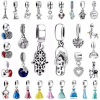 European Crystal Pendant Charms Bead Fit 925 Silver Sterling Bracelets Necklace