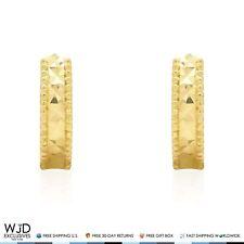 14K Solid Yellow Gold3mm Wide Diamond Cut Huggie Hoop Earrings 10mm