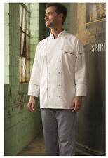 White Chef Coat w/Black Piping, 100% Cotton, Cloth Covered Btns, Size: 3XL - 442