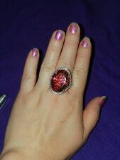 Huge statement piece Hot pink salmon Quartz, Cambodian Zircon Ring (Size 11.)